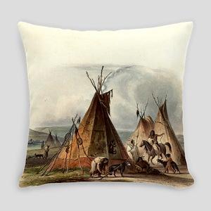 Assiniboin Native Skin Lodge Everyday Pillow