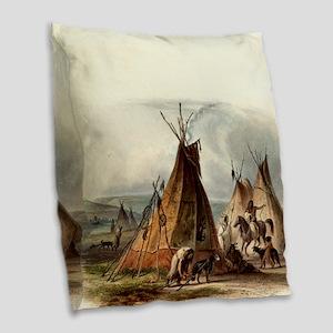 Assiniboin Native Skin Lodge Burlap Throw Pillow