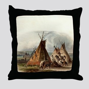 Assiniboin Native Skin Lodge Throw Pillow