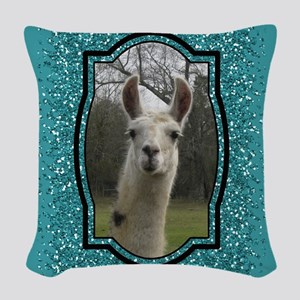 Aquamarine Glitter Llama Portrait 2 Woven Throw Pi