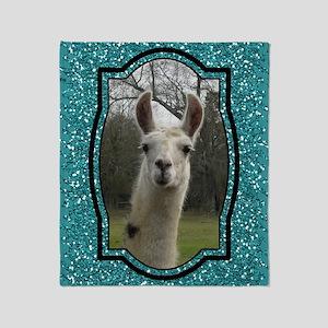 Aquamarine Glitter Llama Portrait 2 Throw Blanket