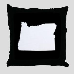 oregon white black Throw Pillow