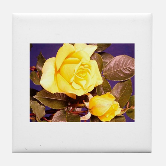 Yellow rose photography Tile Coaster