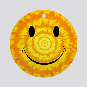 Tie Dye Smiley Face Round Ornament
