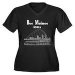 Des Moines Women's Plus Size V-Neck Dark T-Shirt