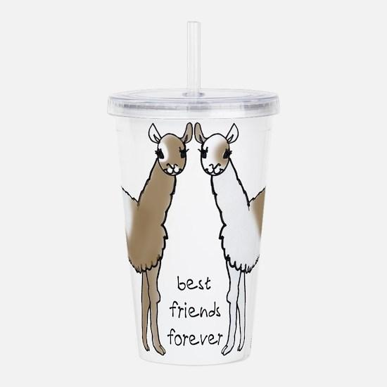 cute llamas bff Acrylic Double-wall Tumbler