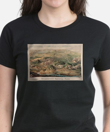 Vintage Pictorial Map of Yellowstone Park T-Shirt