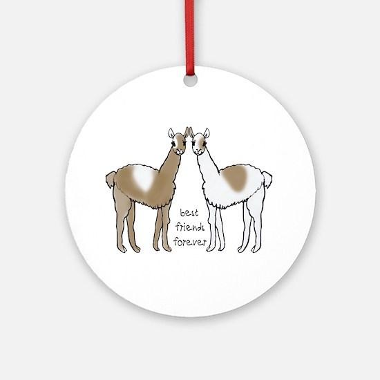Cute Llamas Bff Round Ornament