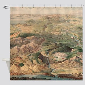 Vintage Pictorial Map of Yellowston Shower Curtain