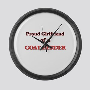 Proud Girlfriend of a Goat Herder Large Wall Clock