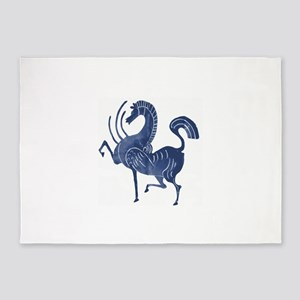 Vintage Flying blue horse 5'x7'Area Rug