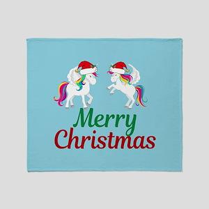Unicorn Christmas Throw Blanket