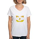 Maniacal Carved Pumpkin Women's V-Neck T-Shirt
