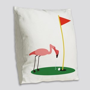 Golf Birdy Burlap Throw Pillow