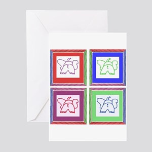 4 Square Elephants Greeting Cards (Pk of 10)