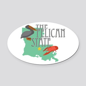 Pelican State Oval Car Magnet