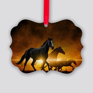 Wild Black Horses Picture Ornament