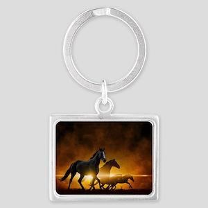 Wild Black Horses Landscape Keychain