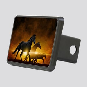 Wild Black Horses Rectangular Hitch Cover