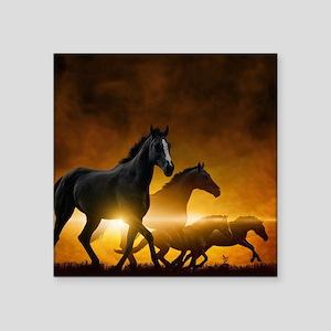 "Wild Black Horses Square Sticker 3"" x 3"""