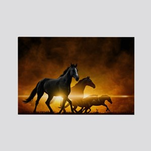 Wild Black Horses Rectangle Magnet