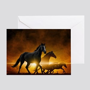 Wild Black Horses Greeting Card