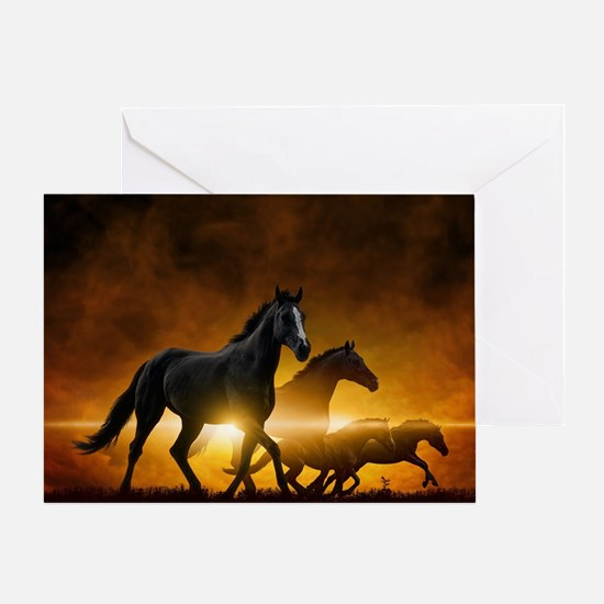Wild Black Horses Greeting Card