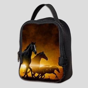 Wild Black Horses Neoprene Lunch Bag