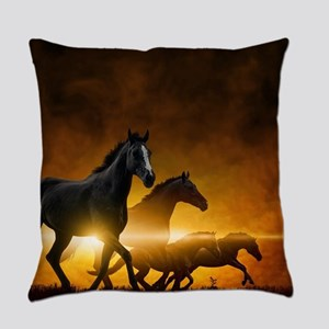 Wild Black Horses Everyday Pillow