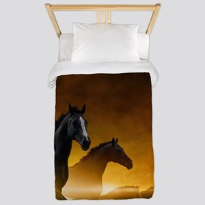 Wild Black Horses Twin Duvet