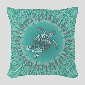 Aqua Turtle and Mandala Woven Throw Pillow