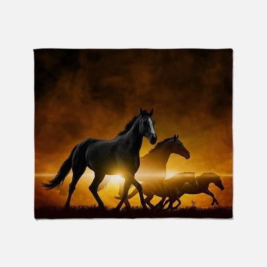 Wild Black Horses Throw Blanket