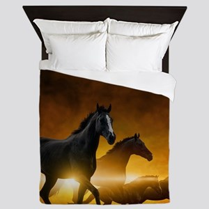 Wild Black Horses Queen Duvet