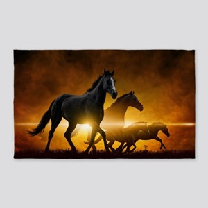Wild Black Horses Area Rug
