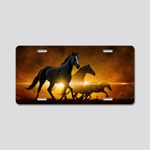 Wild Black Horses Aluminum License Plate