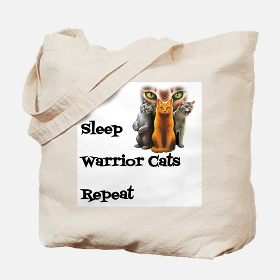 Eat Sleep Warrior Cats Repeat Tote Bag