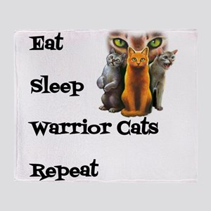 Eat Sleep Warrior Cats Repeat Throw Blanket