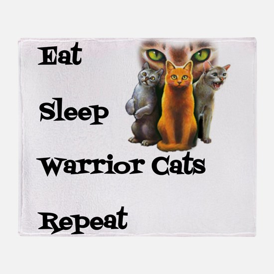Eat Sleep Warrior Cats Repeat Throw Blanket