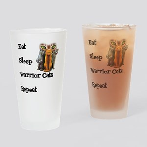 Eat Sleep Warrior Cats Repeat Drinking Glass