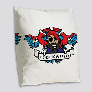 Party Animal Pirate Burlap Throw Pillow