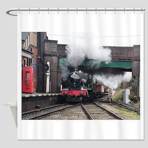 Vintage Steam railway Train at the Shower Curtain