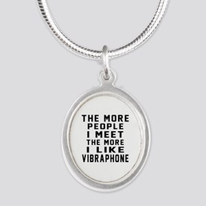 I Like More Vibraphone Silver Oval Necklace