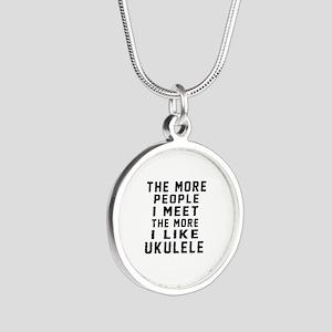 I Like More Ukulele Silver Round Necklace