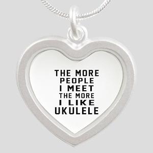 I Like More Ukulele Silver Heart Necklace