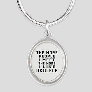 I Like More Ukulele Silver Oval Necklace