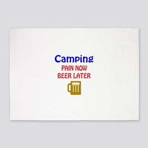 Camping Pain now Beer later 5'x7'Area Rug