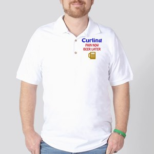 Curling Pain now Beer later Golf Shirt