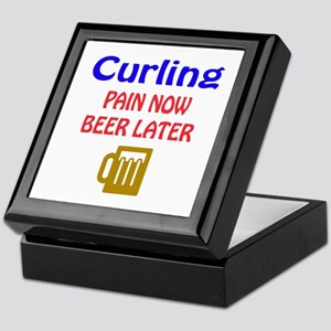 Curling Pain now Beer later Keepsake Box