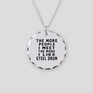 I Like More Steel drum Necklace Circle Charm