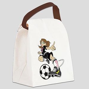 SOCCER GIRL PINK RIBBON Canvas Lunch Bag